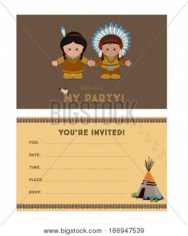 Invitation to party card invitation with American Indians for children's party. Template of card invitation front and back page vector illustration.