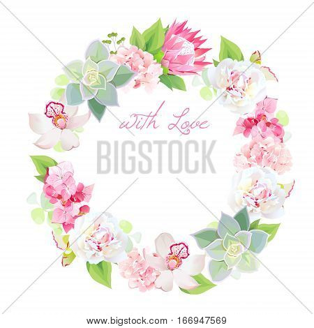 Peony pink protea hydrangea orchid echeveria succulent spring leaves and flowers vector design round frame. All elements are isolated and editable