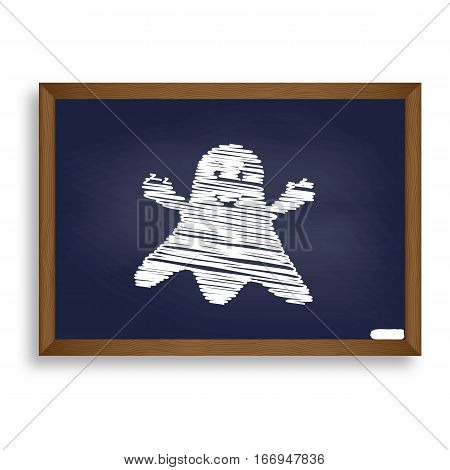 Ghost Isolated Sign. White Chalk Icon On Blue School Board With
