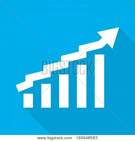 Growing bar graph icon with rising arrow. Financial forecast graph. White graph bar with long shadow on blue background. Vector illustration.