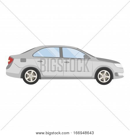 Car Vector Template On White Background. Business Sedan Isolated. Grey Sedan Flat Style