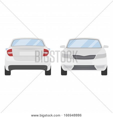 Car Vector Template On White Background. Business Sedan Isolated. White Sedan Flat Style