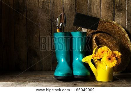 Gardening tools with blue rubber boots yellow spring flowers on a wooden background. Spring summer vacation or gardening concept.