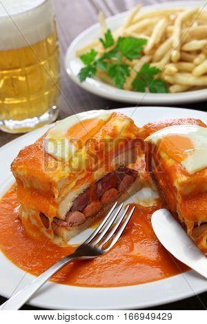 homemade francesinha, portuguese sandwich