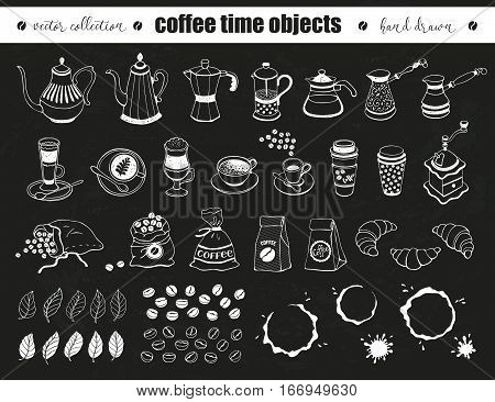 Hand drawn coffee time objects collection. Doodle coffee pots cups and bags on chalkboard. Vector illustration of coffee icons for cafe and restaurant menu design.