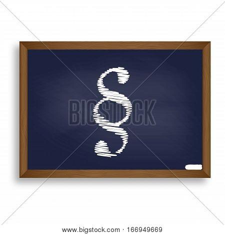 Paragraph Sign Illustration. White Chalk Icon On Blue School Boa