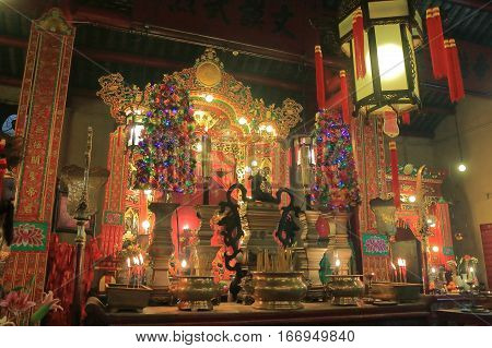 HONG KONG - NOVEMBER 8, 2016: Man Mo temple. Man Mo temple is a temple for the worship of the civil or literature god Man Tai.