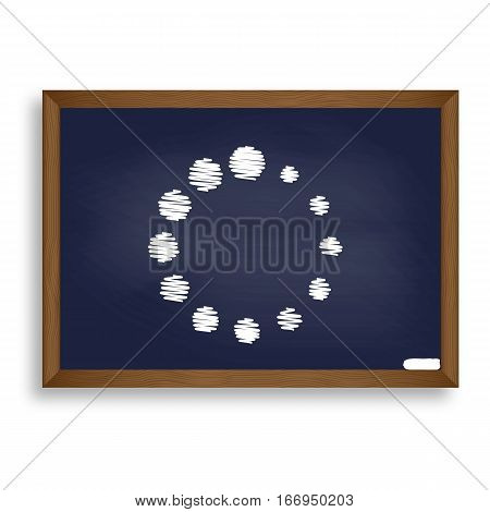 Circular Loading Sign. White Chalk Icon On Blue School Board Wit
