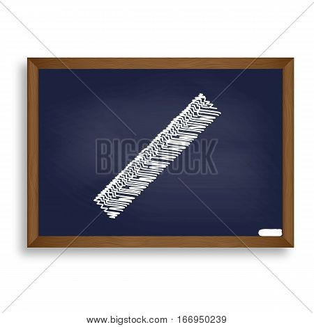 Centimeter Ruler Sign. White Chalk Icon On Blue School Board Wit