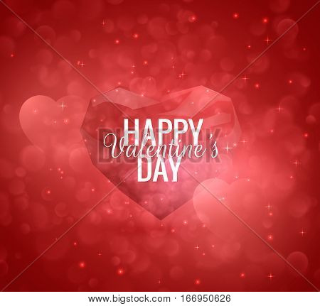 Valentine's Day vector background with glossy low poly heart. EPS10.