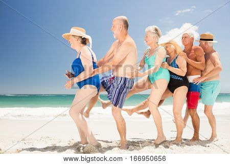 Smiling senior friends dancing on the beach