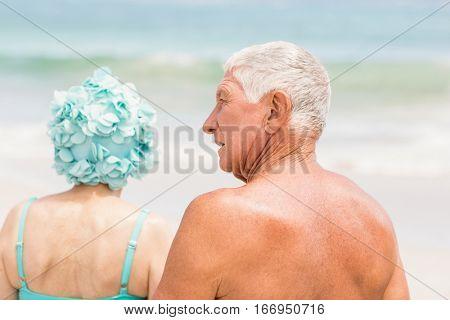 Senior couple in beachwear at the beach