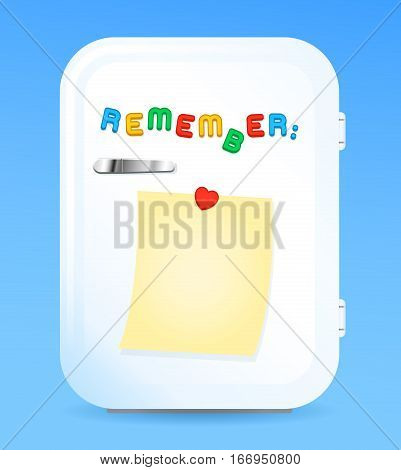 Retro style fridge with blank paper note and letter magnets. Vector illustration