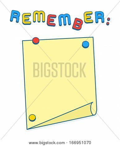 Reminder or Agenda List on whiteboard or fridge with magnets copy space to add your own text. Vector Illustration