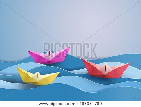 origami made colorful paper sailing boat, paper art style.