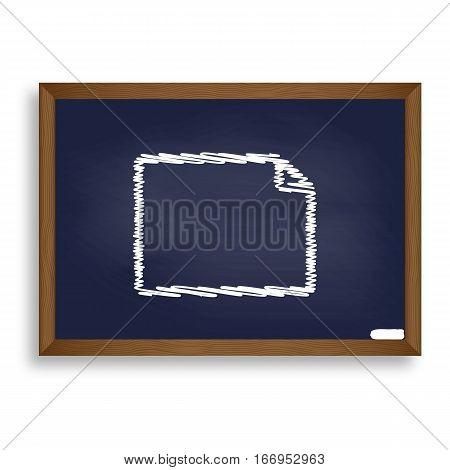 Horisontal Document Sign Illustration. White Chalk Icon On Blue
