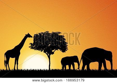 Elephants and giraffe in Africa vector background