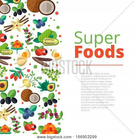 Superfood Background With Fruits, Vegetables, Berries, Nuts And Seeds. Vector Layout With Healthy De