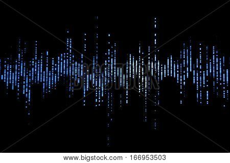 blue digital equalizer audio sound waves on black background stereo sound effect signal with vertical lines
