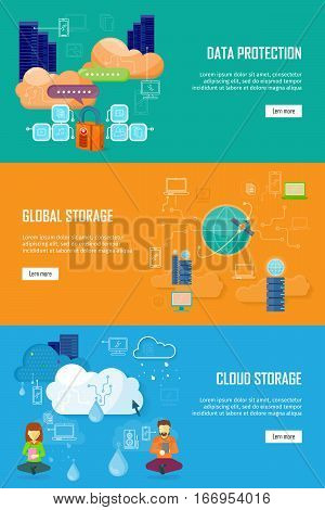 Data protection, global storage and cloud storage. Data security, data privacy, security and data stream, data backup, cloud computing, online storage, data storage, internet web illustration