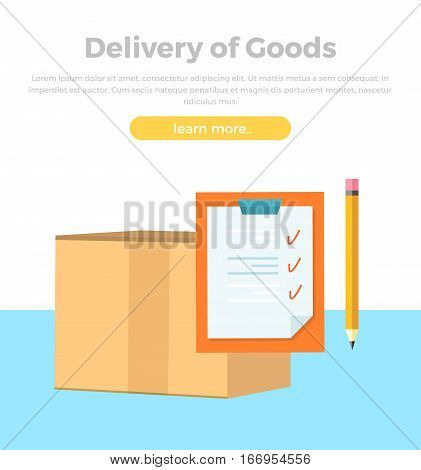 Delivery of goods banner. Packing product design in flat style. Package service, transportation parcel, deliver container, receive pack, send and logistics. Paper with tips and pencil. Vector