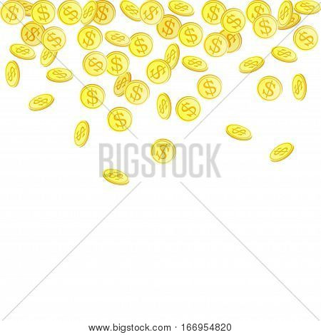 Vector background with falling coins on white. Golden coins - symbol of wealth and success. Gold money rain. Illustration for incone, winning, earnings or bonus. Flying metal money with dollar symbol.