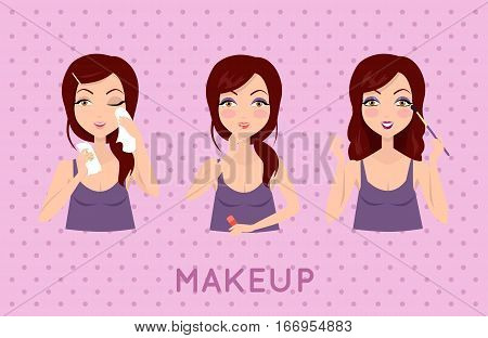 Beauty woman applying makeup set. Skin care. Girls smiling and holding beauty packaging, facial, beauty, skin, cosmetic, makeup, health, lifestyle, fashion spa Girl in purple shirt
