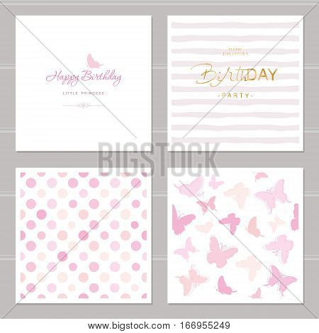 Birthday cards set. Including seamless patterns in pastel pink. Girly. For weddings baby shower design.