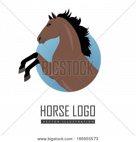 Rearing sorrel horse logo vector. Flat design. Domestic animal. Country inhabitants concept. For farming, animal husbandry, horse sport illustrating. Agricultural species. Isolated on white