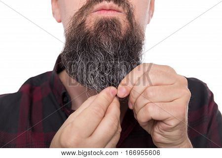 Full Bearded Man Using Beard Balm Or Oil, Care Product For Men