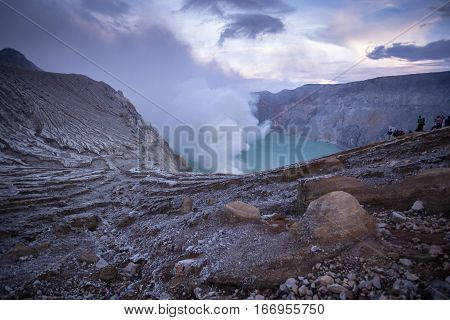 Mount Kawah Ijen volcano during sunrise in East Java Indonesia.
