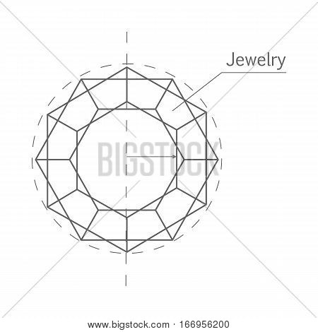 Jewelry production sketch isolated on white. Jewelry designer works on hand drawing sketch of precious stone. Draft outline of diamond ring design. Project of brilliant ring. Vector illustration
