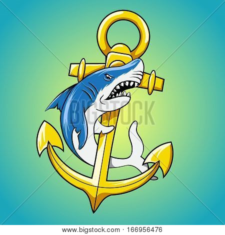 Shark and anchor cartoon vector illustration.  Symbol for marine sport t-shirt. Sailor and seaman mascot