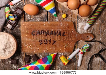 carnival text in chocolate with ingredients