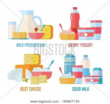 Different traditional dairy products from milk on white background. Milk production, berry yogurt, best cheese, sour milk banners. Assortment of dairy products. Farm food illustration set in flat.