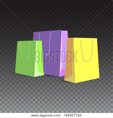 Set of paper, colored shopping bags, resizable vector illustration. Purple, green and yellow bags for shopping and gifts on transparent background