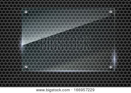 Elegant vector metallic mesh background with glass banner. Texture with highlights and glow on the background of metal mesh. Vector editable texture, easy to change size