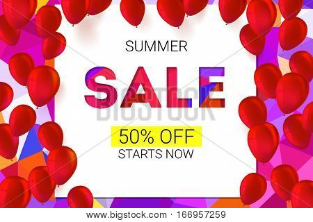 Sale banner on low poly background with inflatable balloons and typography for luxury sales offers. Modern, colorful design with red inflatable balloons. Vector illustration, eps 10