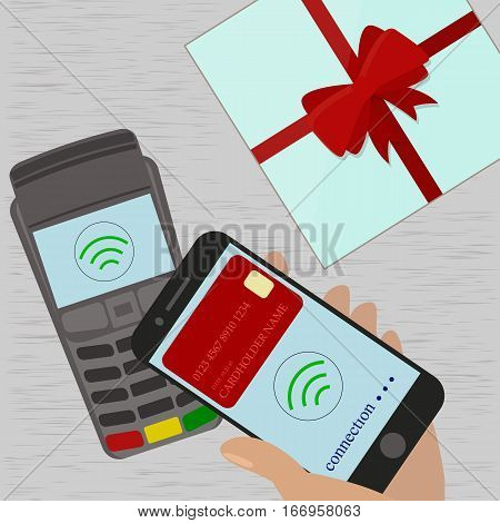 Man holding mobile phone with credit card on the screen paying wirelessly over POS terminal.Vector illustration