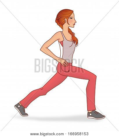 Girl with pigtail performs exercises