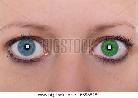Young Woman With Heterochromia Iridum, Two Different Eye Color