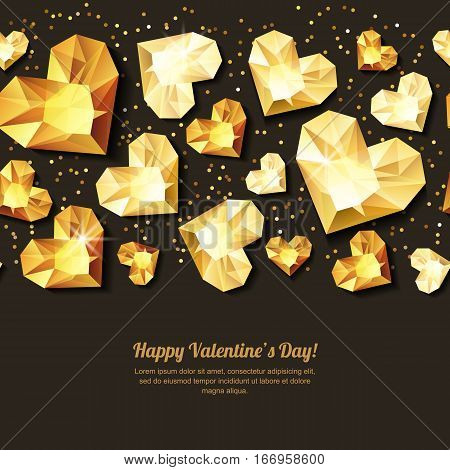 Valentines Day Vector Horizontal Black Background With 3D Gold Heart Diamonds, Gems, Jewels.