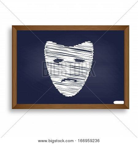 Tragedy Theatrical Masks. White Chalk Icon On Blue School Board