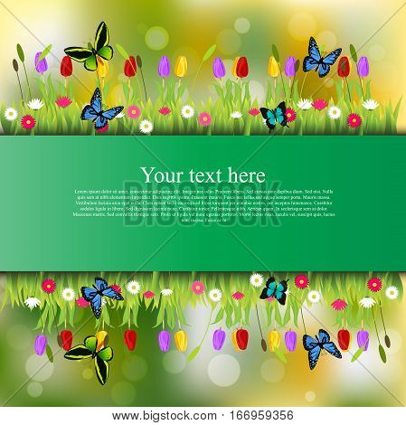 Very high quality original trendy banner with grass, flowers, chamomile, Tulip and butterfly