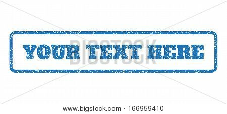 Blue rubber seal stamp with Your Text Here text. Glyph caption inside rounded rectangular frame. Grunge design and dirty texture for watermark labels. Horizontal sign on a white background.
