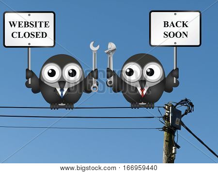 Comical website maintenance closed back soon message perched on electrical cables