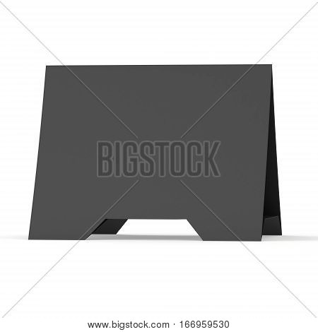 Black paper tent card. 3d render illustration isolated. Table card mock up on white background.