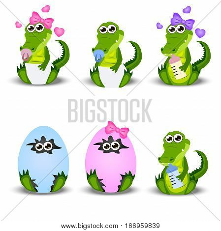 Very high quality original trendy vector set with ababy crocodile or alligator with nipple, egg, diapers