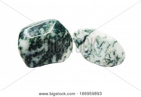 moss agate with chalcedony geological crystal isolated