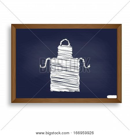 Apron Simple Sign. White Chalk Icon On Blue School Board With Sh